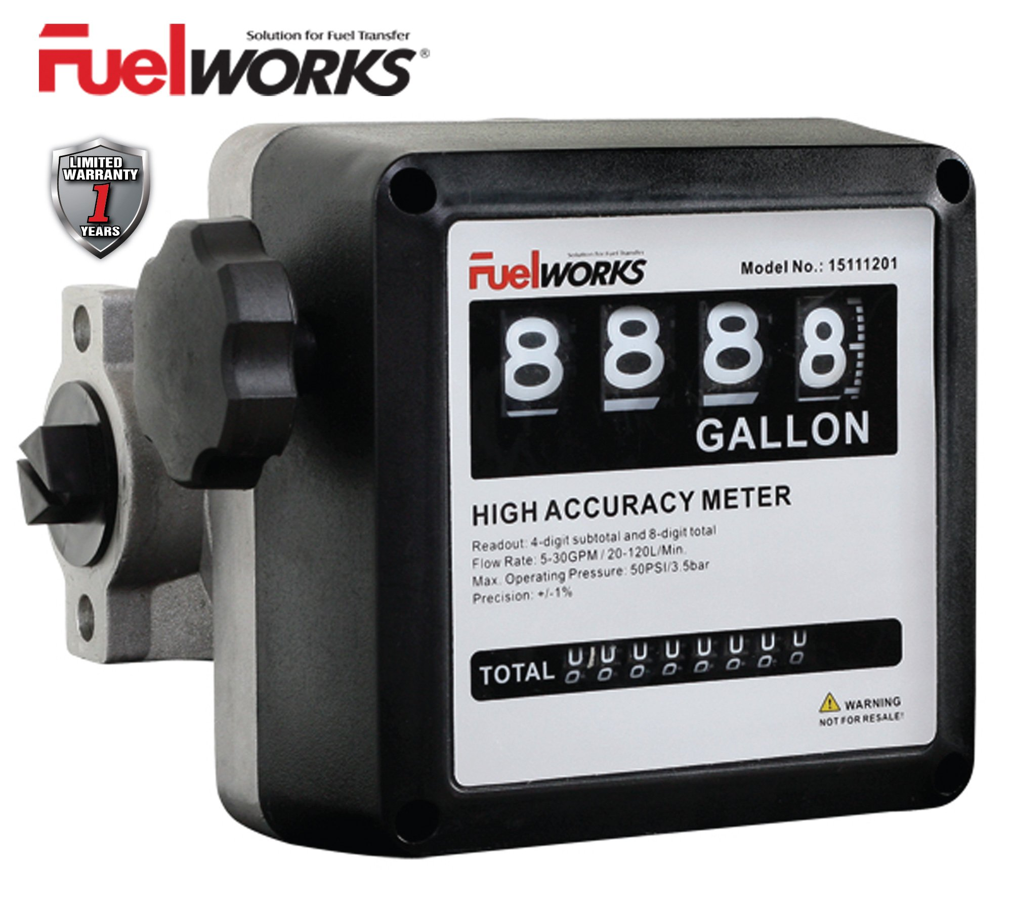 Fuelworks 15111200A 1'' Mechanical Fuel Meter, Black