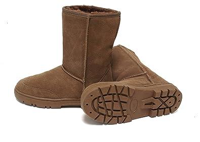 SUPER s6x Lammfell Stiefel Halbschaft Damen Stiefel Australisches Lammfell, Lammfell Boots braun mit braunen Lammfell, Rutschfeste Gummi Sohle
