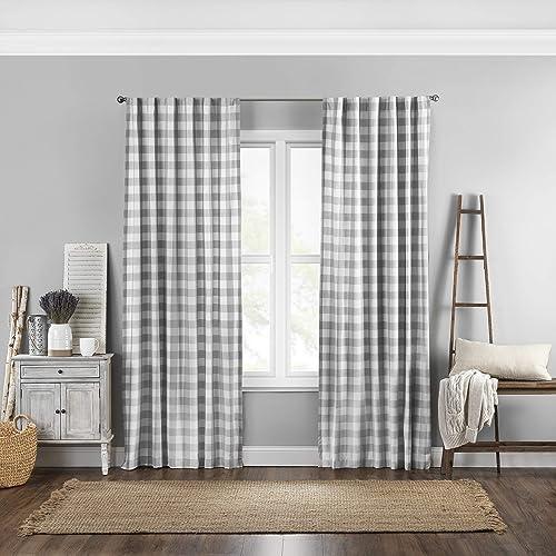 Elrene Home Fashions Farmhouse Living Buffalo Check Window Curtain Panel, 52 x 95 1, Gray White