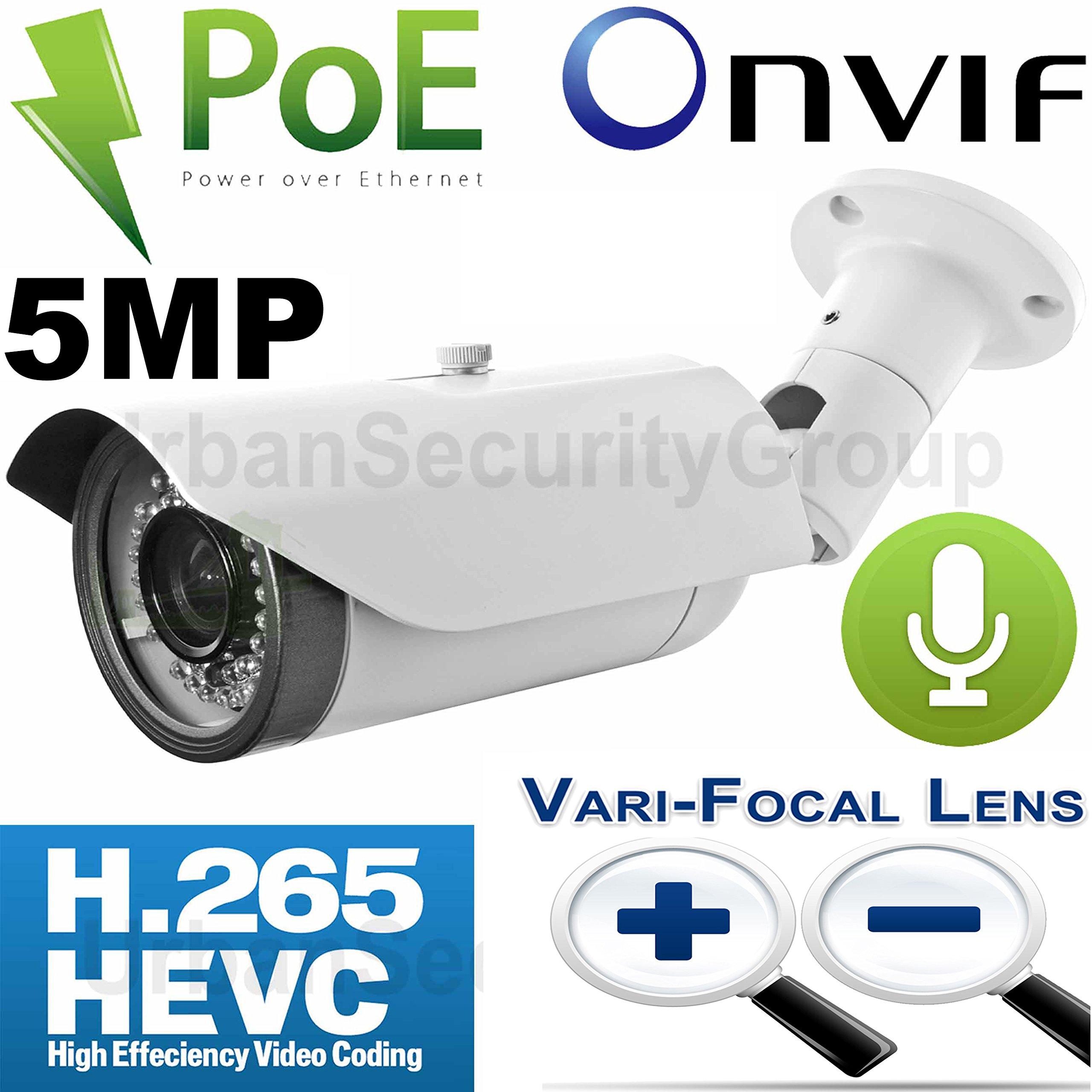 USG Business Grade 5MP @ 30FPS H.265 IP Bullet Security Camera + RCA Audio : MOTORIZED Auto-Focus 2.7-13.5mm Lens, Power Over Ethernet, 42x IR LEDs, Weatherproof, ONVIF 2.4 : Mac, Windows, Phone App