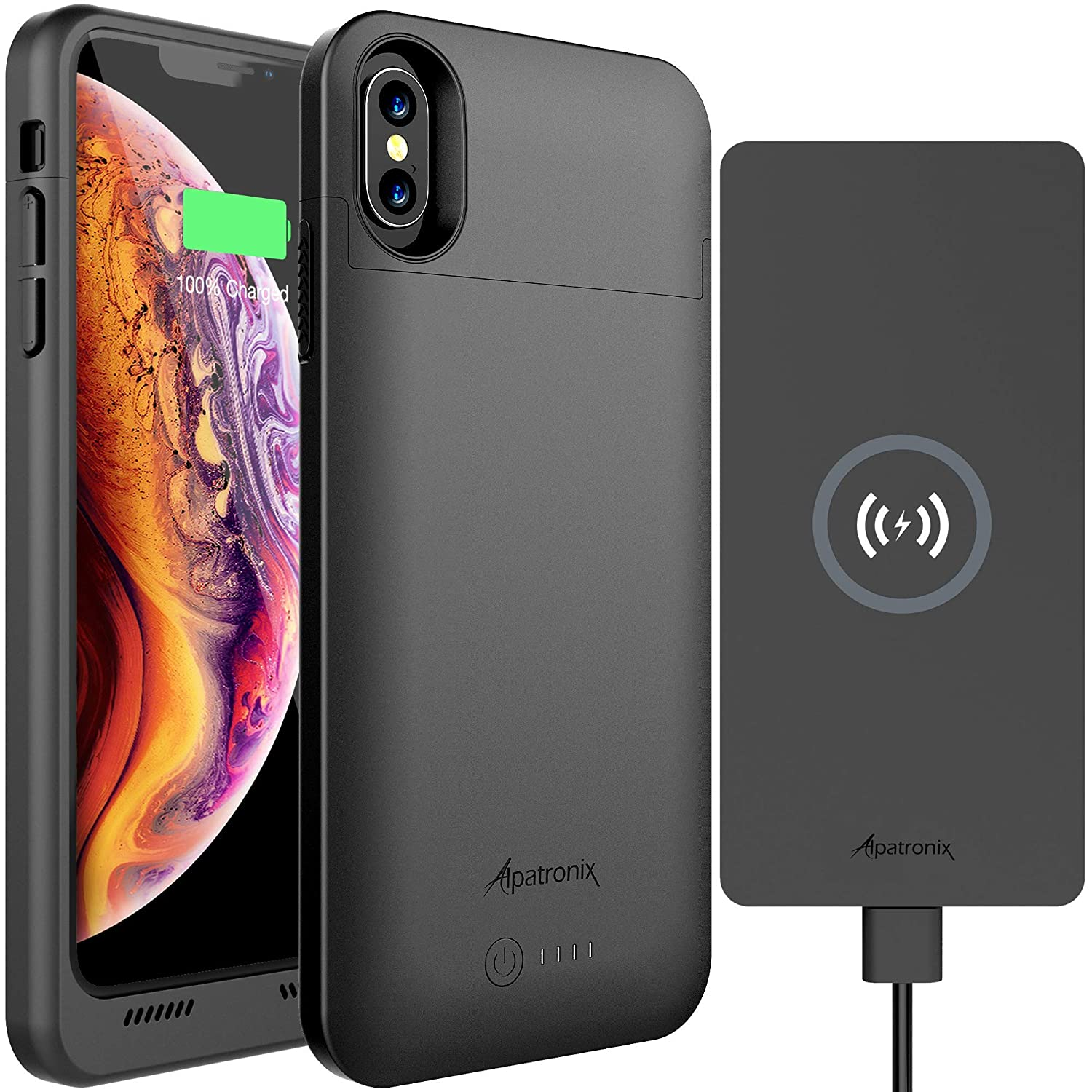 iPhone X/XS Battery Case & Wireless Charger: Alpatronix BXX 4200mAh 5.8-inch Portable Qi Compatible Extended Charging Power Case & 10W Thin Non-Slip Fast Charge Wireless Pad for Qi-Enabled Devices BXX + CX101