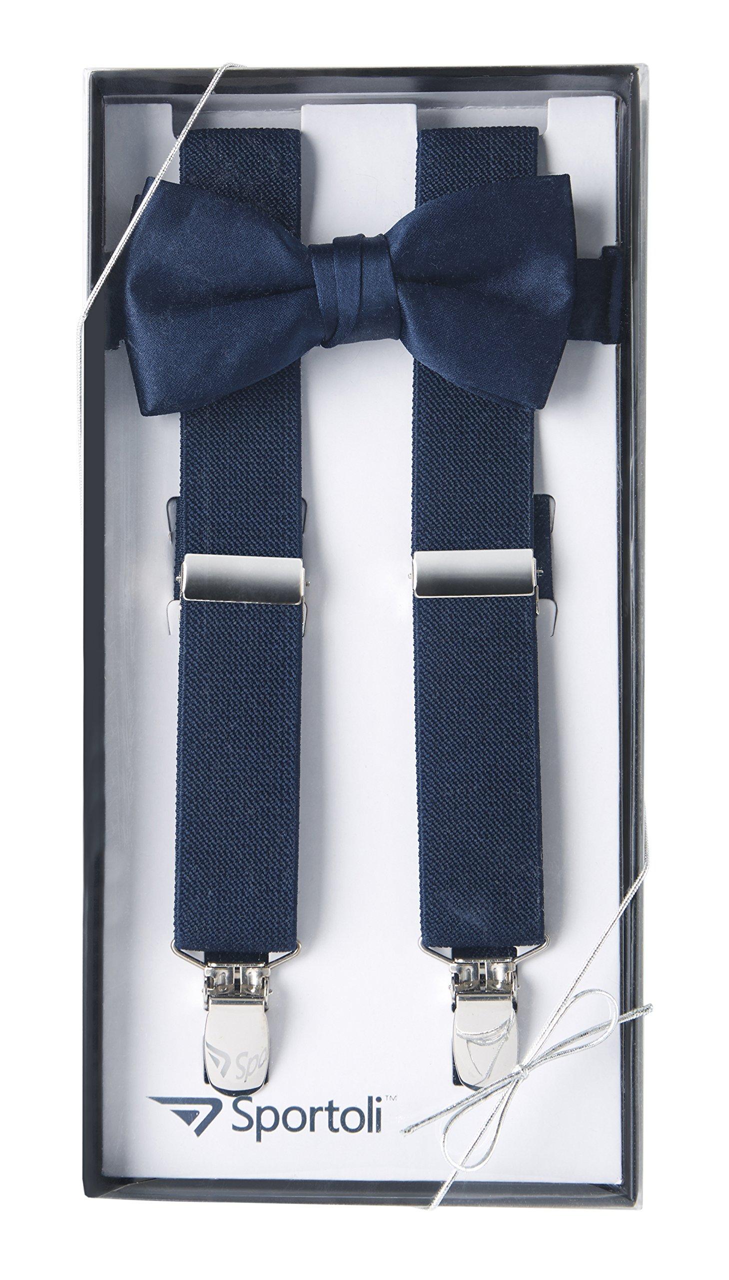 Suspenders for Kids Gift Set Wedding Tuxedo Genuine Leather Premium 1 Inch Suspender -Navy (22 Inch)