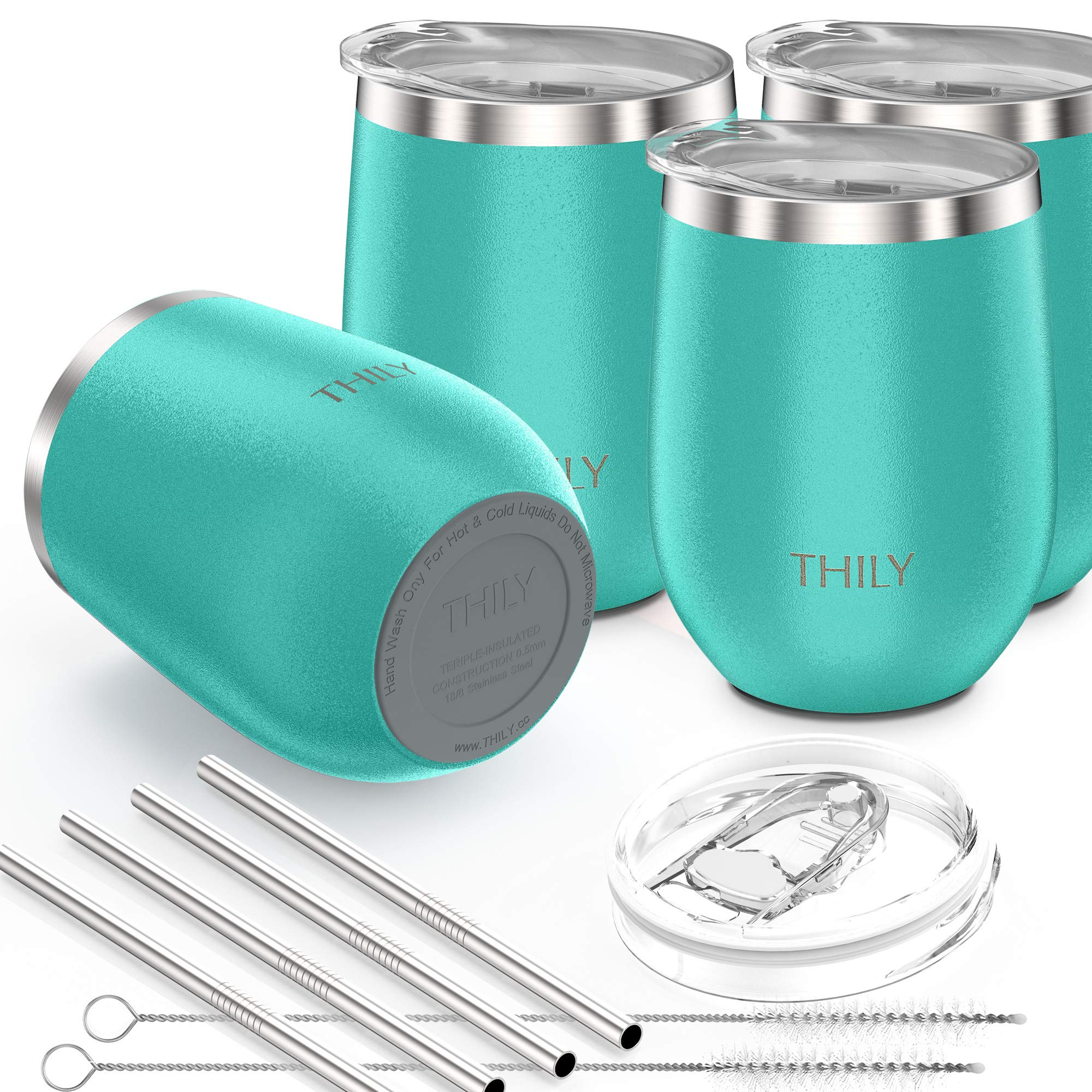 Stainless Steel Stemless Wine Glasses - THILY Triple Vacuum Insulated Cute Travel Tumbler Cup with Spill-Proof Lid, Reusable Straw, Keep Cold & Hot for Wine, Coffee, Birthday Xmas Gift, 4 Pack, Teal by THILY (Image #5)
