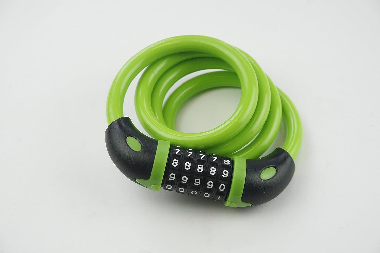 R2Brand 3フィート ケーブルワイヤーコンビネーションロック グリーン5 - Digit & Resettable