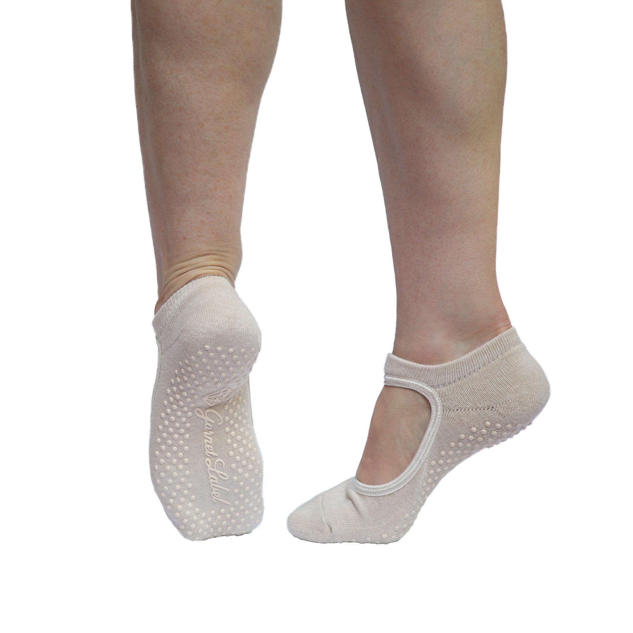 Garnet Label Barre Socks - Women's Mary Jane Style Non Slip Socks for Barre, Yoga and Pilates.