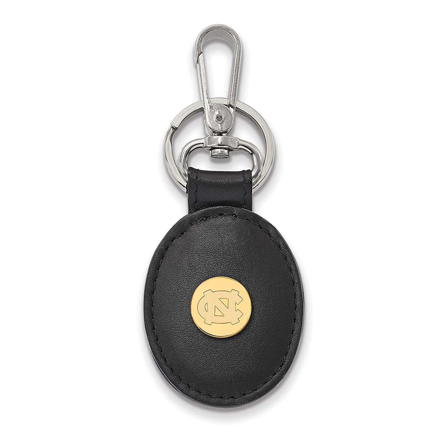 UNC Sterling Silver w// 14K Yellow Gold-Plated LogoArt Official Licensed Collegiate University of North Carolina Black Leather Oval Key Chain