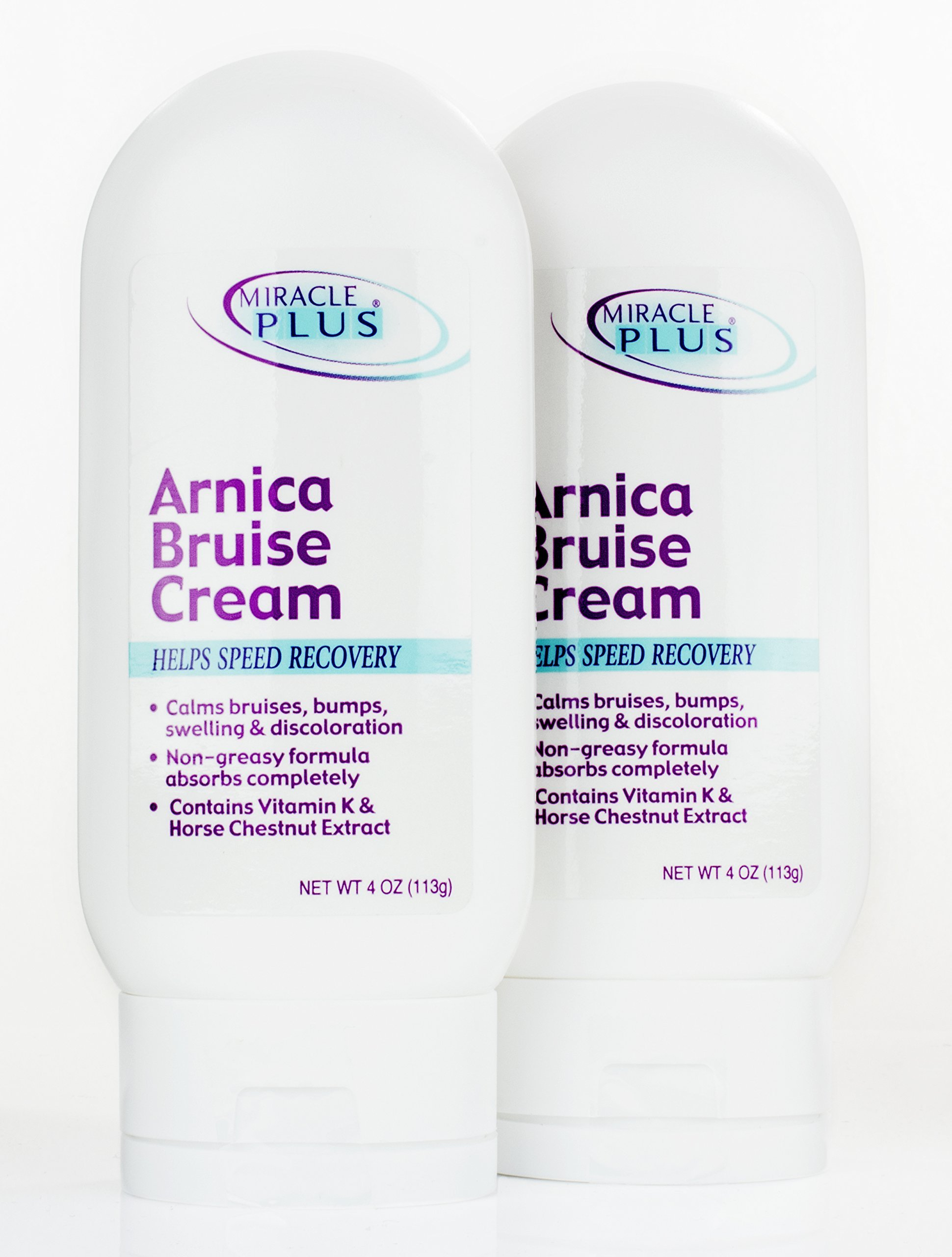 Miracle Plus Arnica Bruise Cream for bruising, swelling, discoloration. (Two - 4oz)
