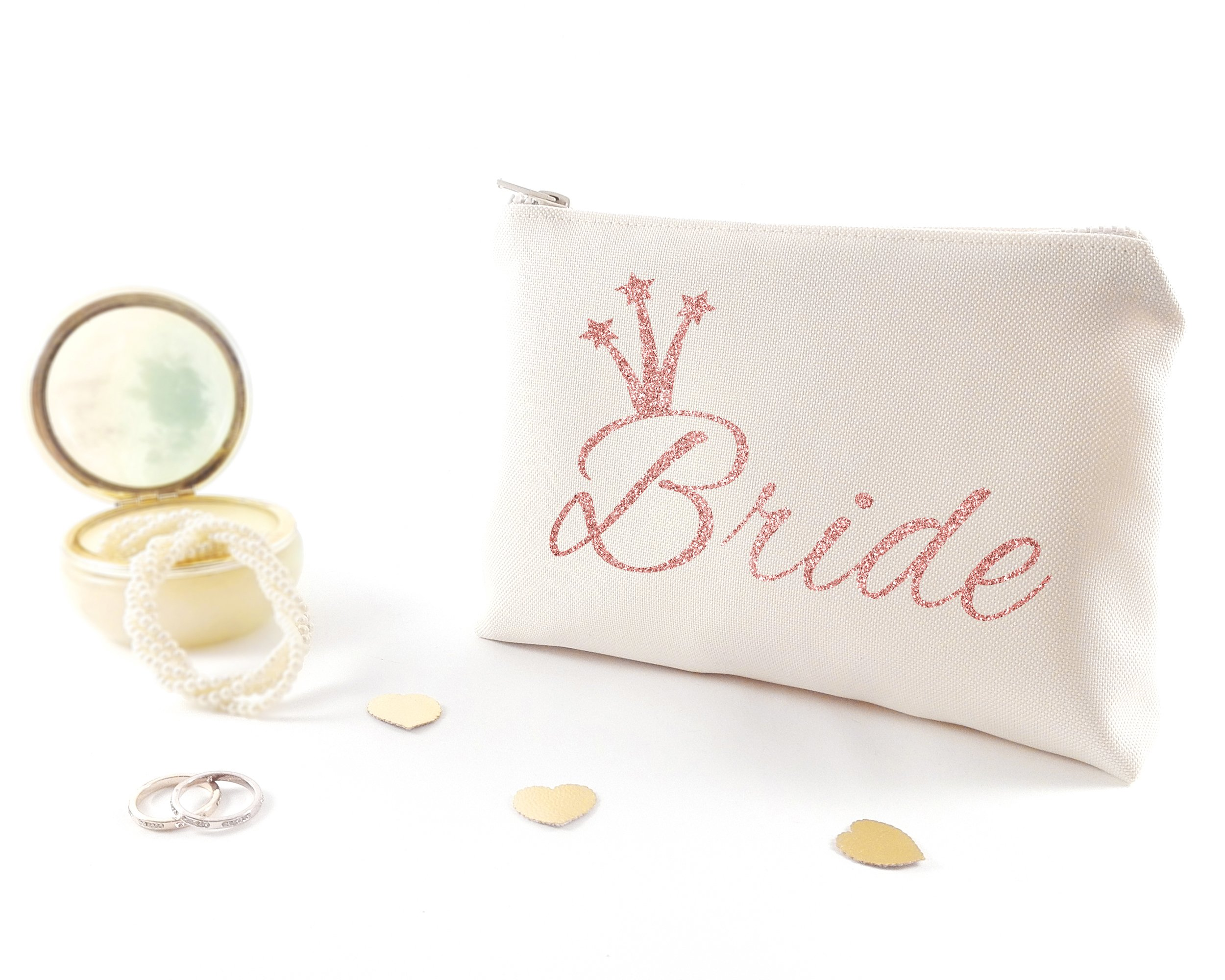 Bride make up bag - Bridal shower gift (Rose Gold Bride Lettering)