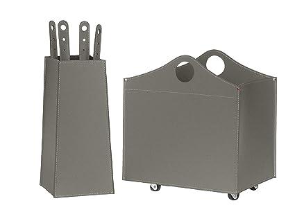 BOCAD: Set para chimenea y estufas en cuero de color Dove gris compuesto por Porta