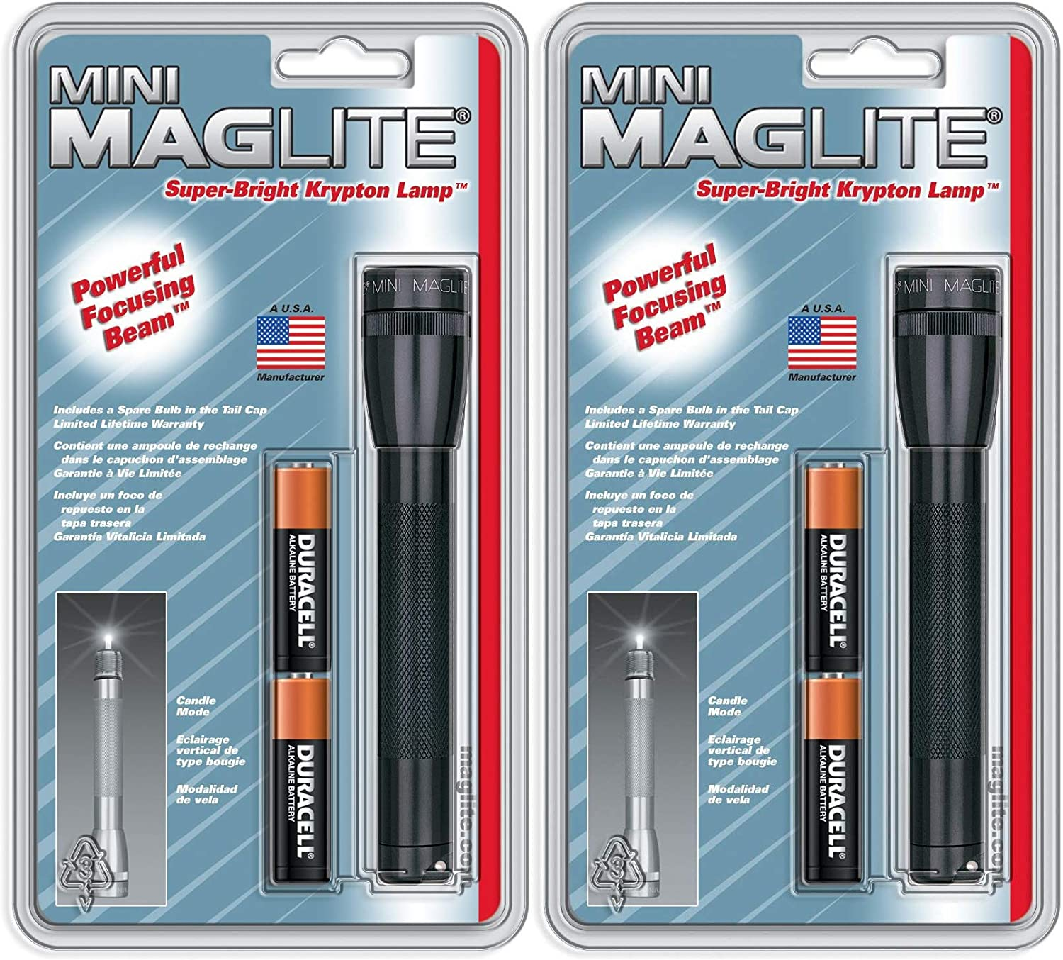2 Pack Maglite Mini Incandescent 2-Cell AA Flashlight Black
