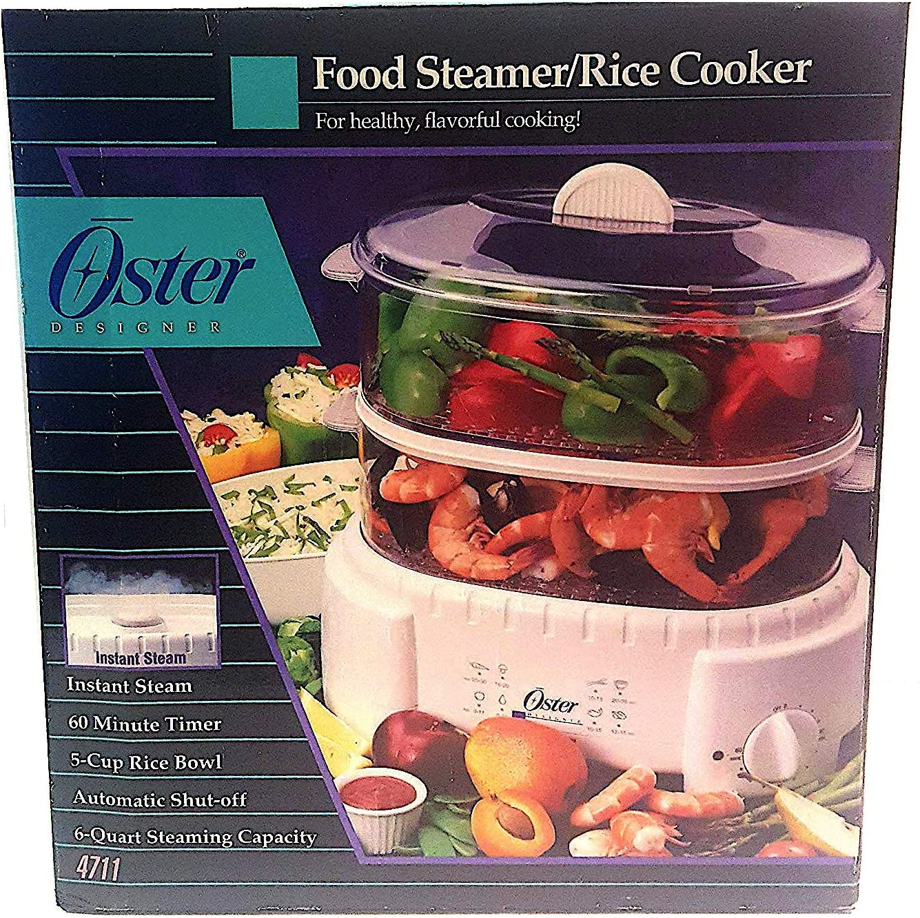 Oster 4711 Designer Large 6 Quart Capacity Food Steamer and Rice Cooker
