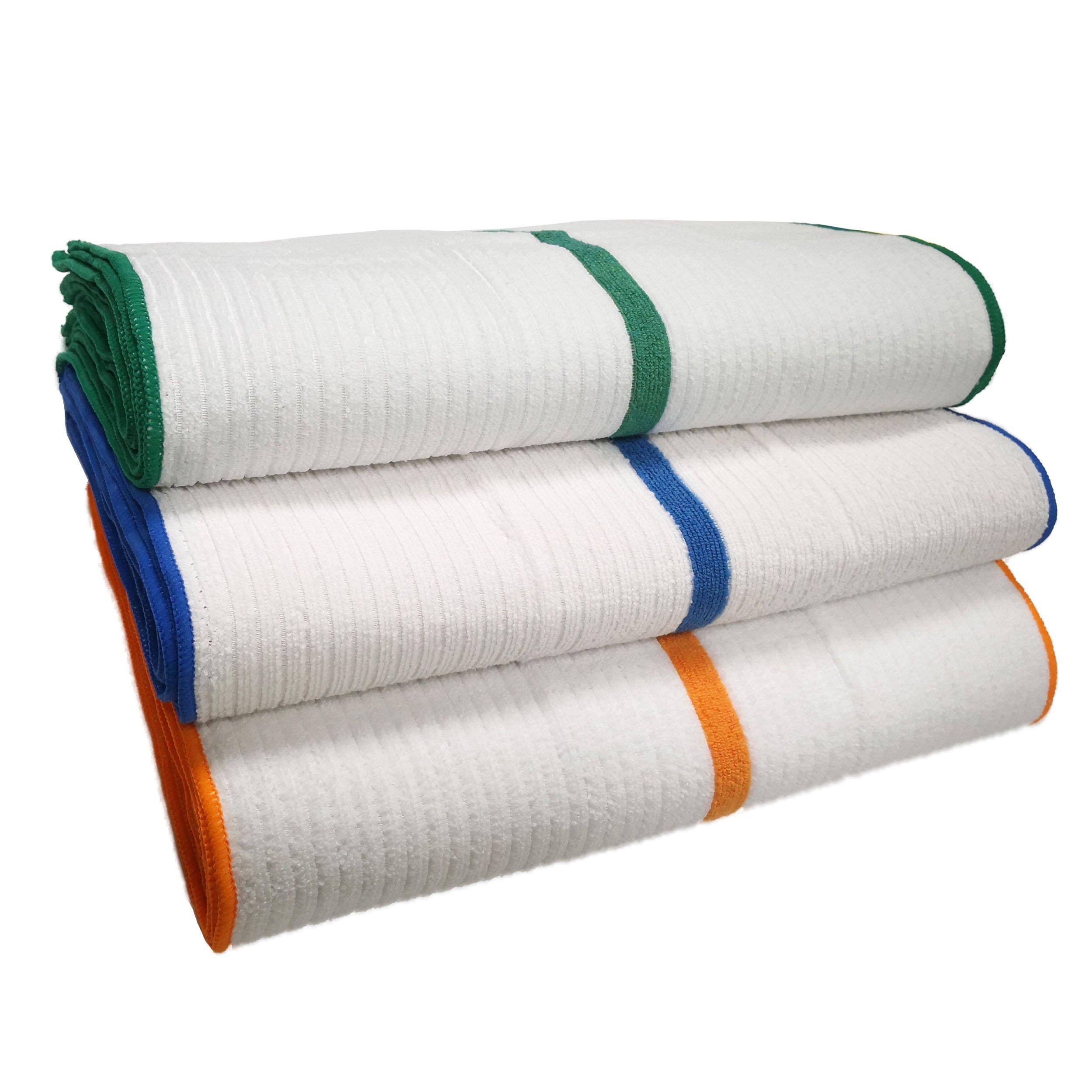 Polyte Microfiber Bar Mop Towel (15x18, White w/Blue,Green, Orange Stripe) 24 Pack