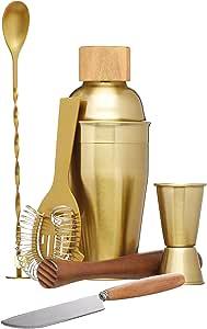 BarCraft Cocktail Making Kit (6-Piece Gift Set) -Brass Finish, 2, 28 x 32 x 28 cm