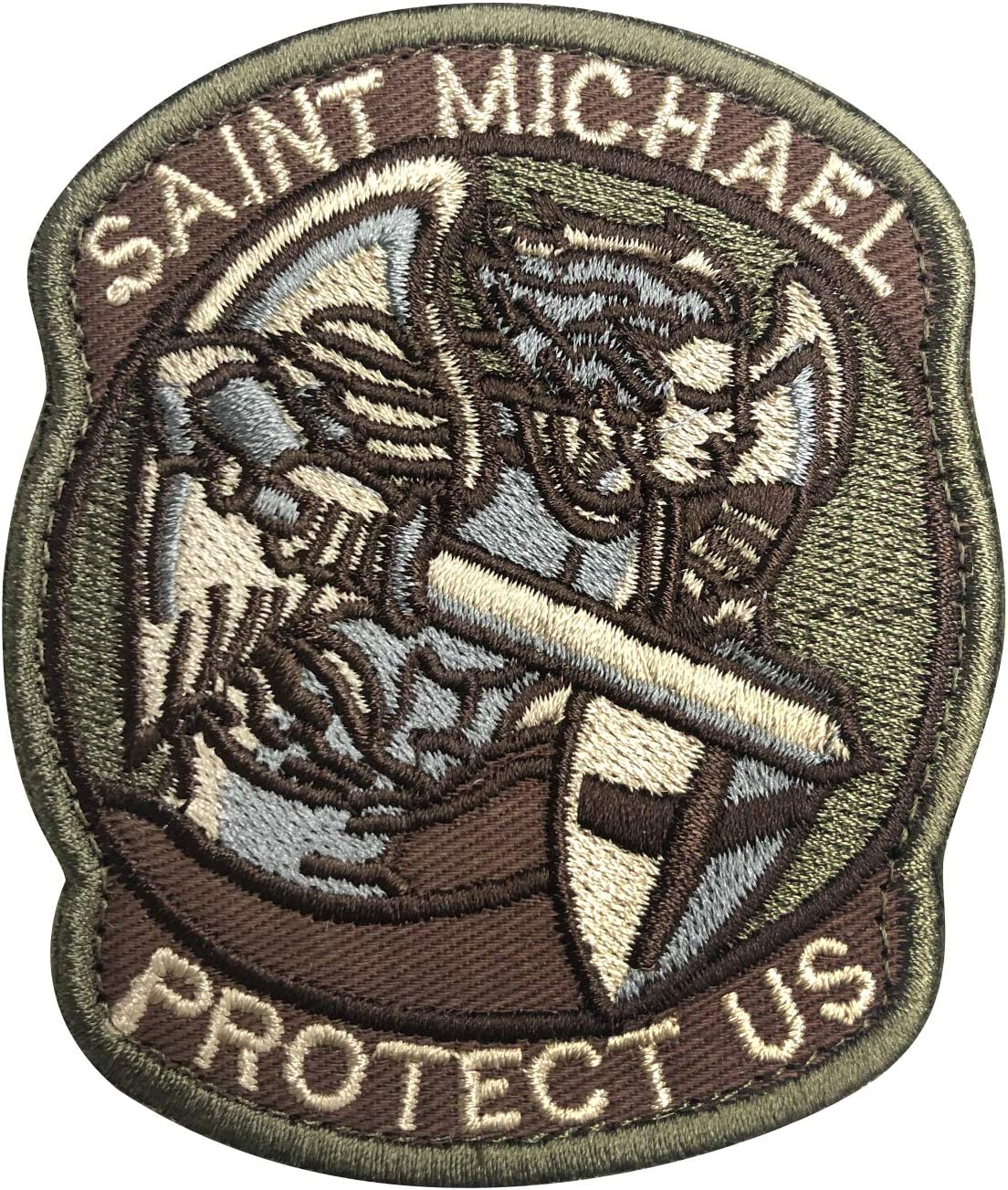 Mil-Spec Monkey Embroidered Saint Michael Modern Hook Fastener Morale Patch ACU