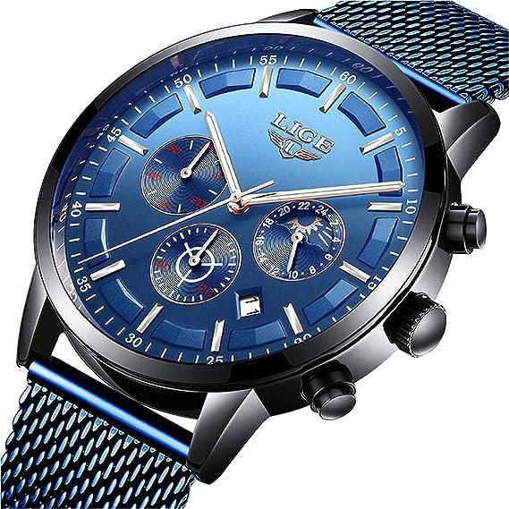 LIGE Relojes para Hombre Acero Inoxidable Deportivos Cuarzo Cuarzo Analógico Reloj de Pulsera Moda Impermeables Hombres