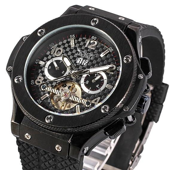Reloj de pulsera para hombre Jaragar Big Bang Carbon automático de pulsera para hombre Negro Au00001