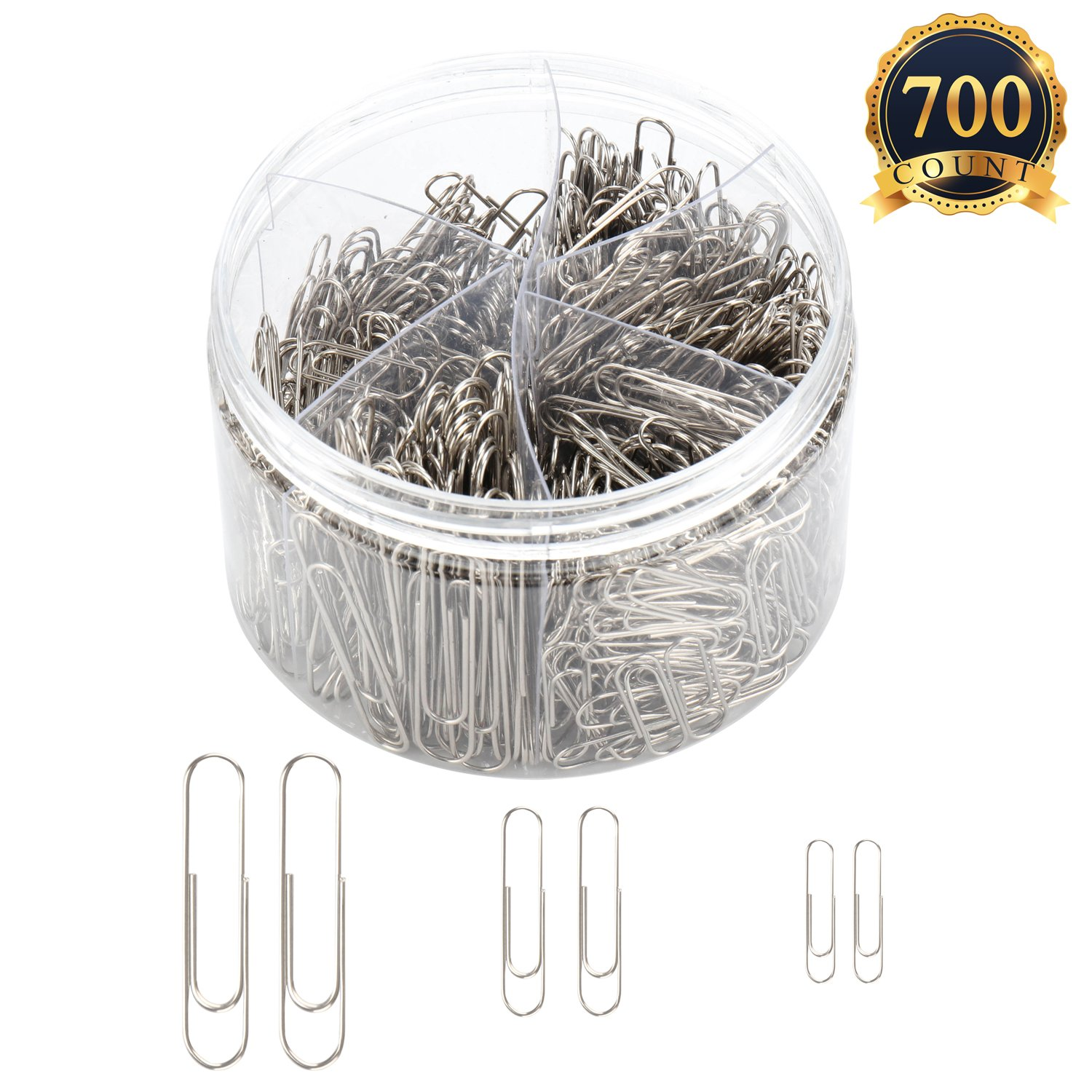 SUBANG 700 Pieces Sliver Paper clips, Medium 28mm 33mm and Jumbo Sizes 50mm, Office Clips for School Personal Document Organizing Professional Work