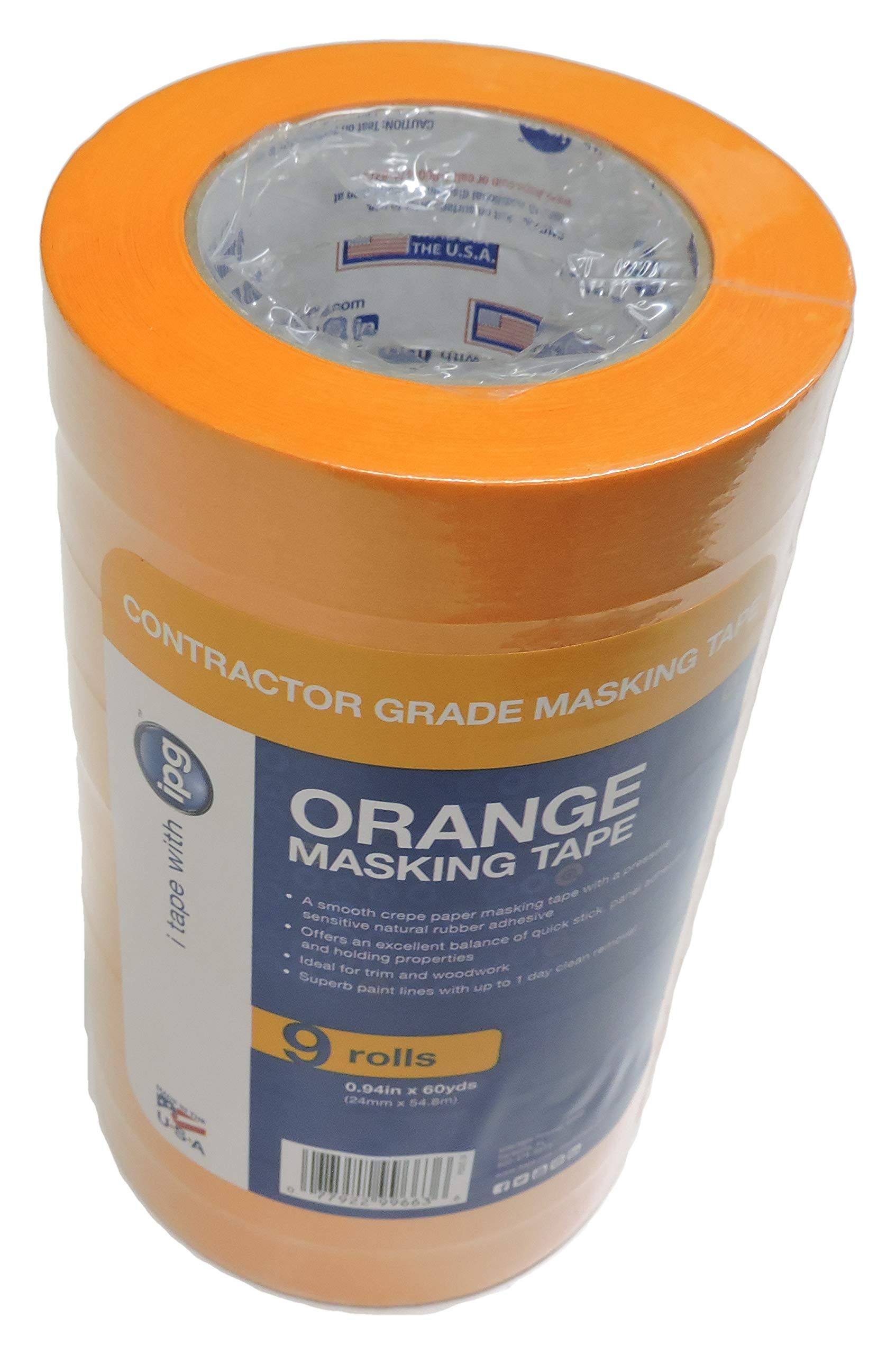 9 Roll Contractor Pack IPG 1'' in x 60yd Orange Painters Tape Pro Grade Extra Sticky Masking Painting Tape PG505 Clean Release