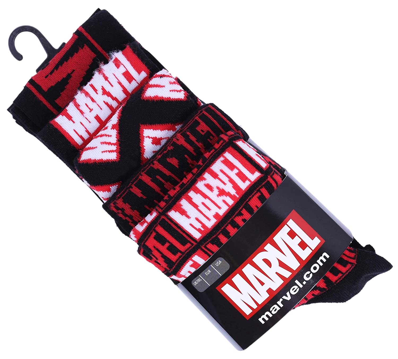 5 x Calcetines negro y rojo Marvel