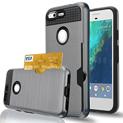 buy online b4791 0ac9e Google Pixel Case,Berry Accessory Dual Layer Hard Silicone Rubber Hybrid  Defender Armor Card Slot Holder [Slim Fit] Full Body Protective Cover for  ...
