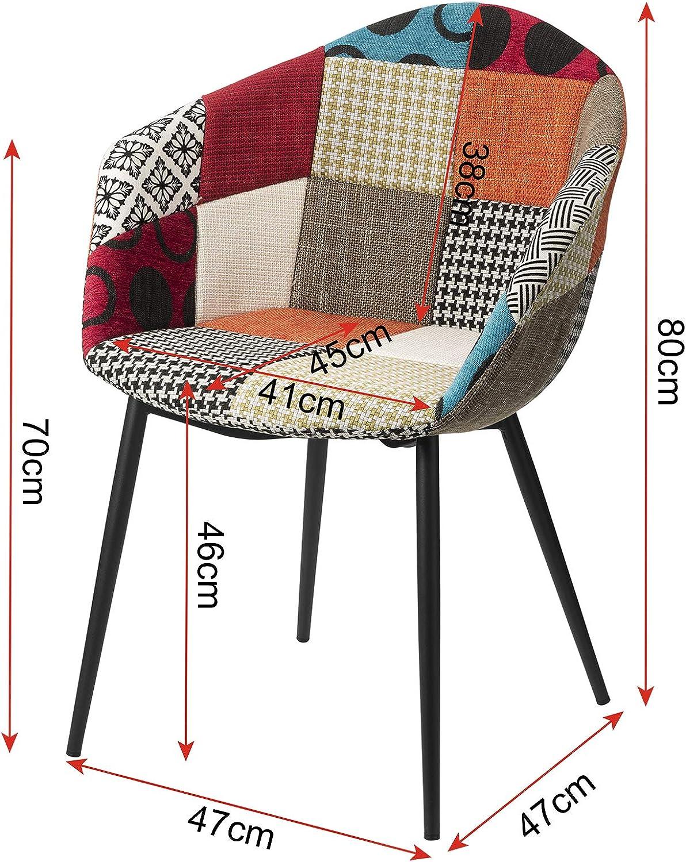 eSituro Chaises de Salle /à Manger Chaise de conf/érence avec Assise en Tissu,Chaise de Salon Multicolore SDC0231-2