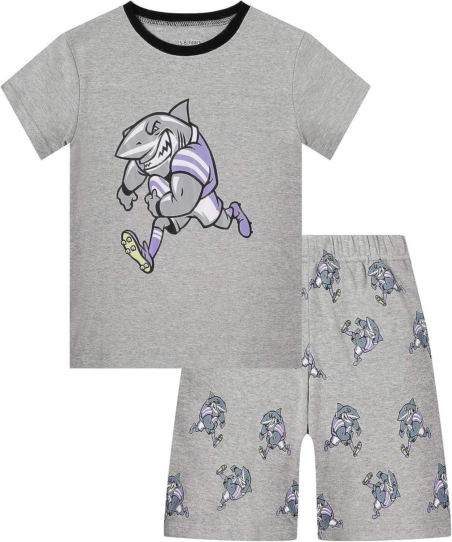 DAUGHTER QUEEN Boys Summer Pajamas Set 100% Cotton 2pc Pjs Short Pajamas for 1-12 Years Old Boy Baby Toddler Kid