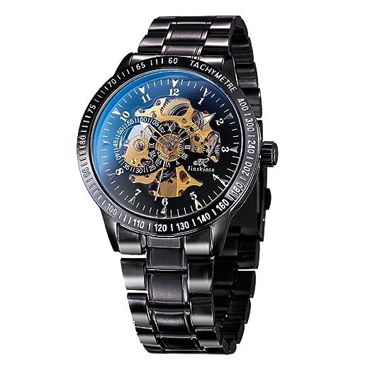 Treweto Reloj mecánico automático para hombre, acero inoxidable negro Steampunk, reloj de pulsera automático: Amazon.es: Relojes