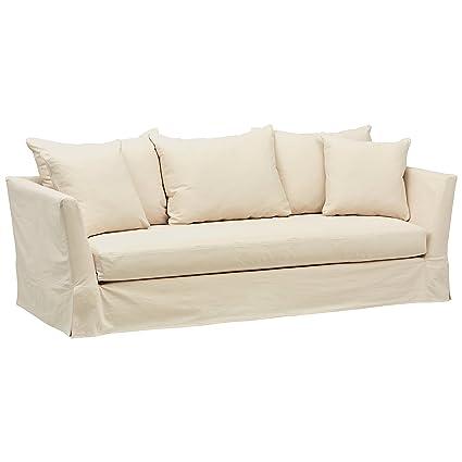 Sensational Stone Beam Bartow Living Room Sectional Sofa Couch With Slipcover 95 5W Natural Creativecarmelina Interior Chair Design Creativecarmelinacom