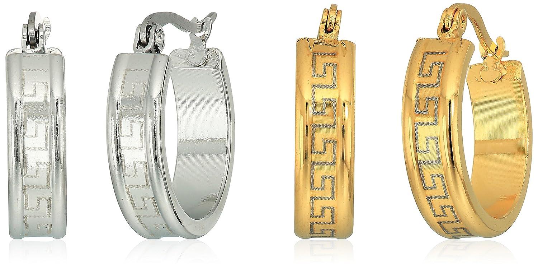 Ladies Stainless Steel/ 18kt gold plated 2 pack Greek Key 20mm Hoop Earrings 822071E/822072E