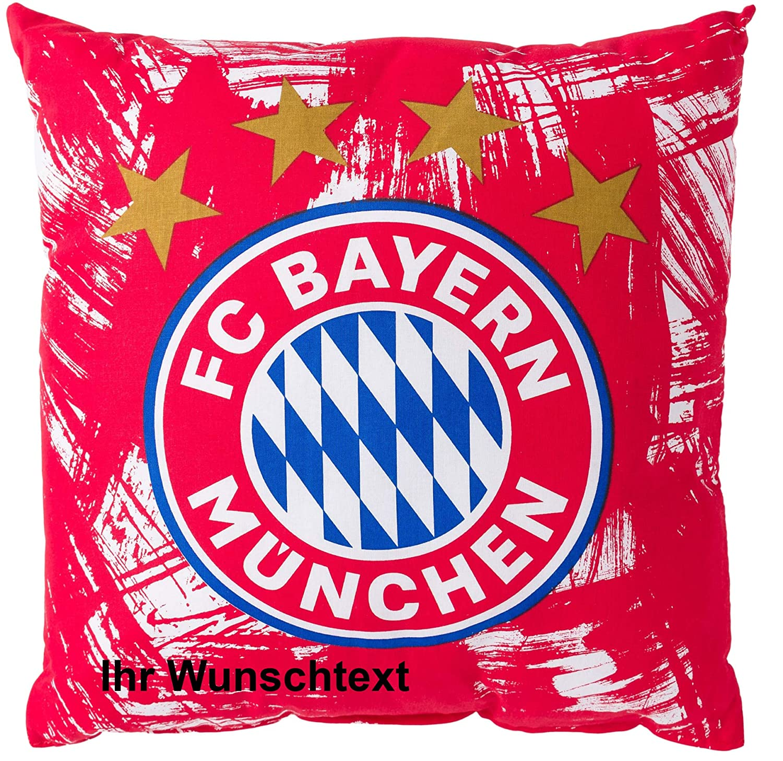 FC Bayern Kissen Rot//Wei/ß mit pers/önlichem Wunschtext in Ihrer Wunschfarbe