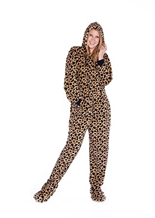 c7d9b64178 Leopard Print Hoodie Plush Footed Onesie Pyjamas for Men   Women ...