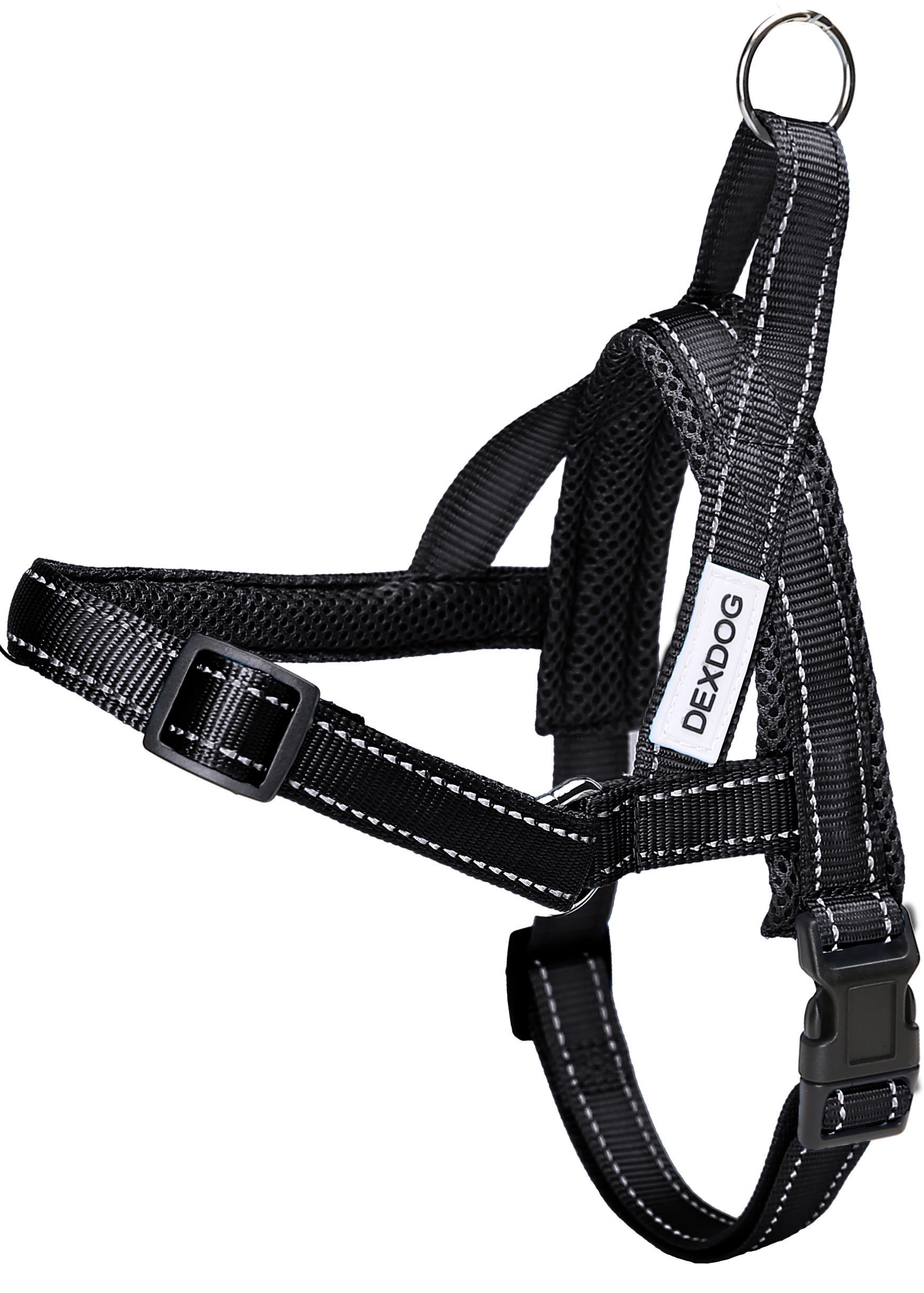 DEXDOG #1 Best Dog Harness — EZHarness by On/Off Walk in Seconds! [Black Large L] — Easy Quicker Step In Dog Harness Vest — Puppy Reflective Mesh Handle Adjustable Training