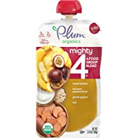 Plum Organics Mighty 4, Organic Toddler Food, Sweet Potato, Banana & Passionfruit, Greek Yogurt, Oat, 3.75 Ounce (Pack…