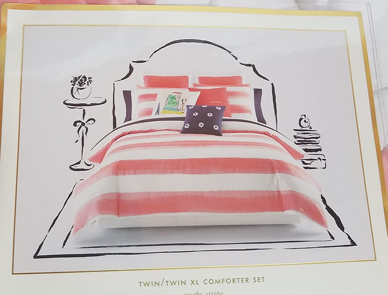 Kate Spade Rugby Stripe Comforter Set, Twin/Twin XL, Coral