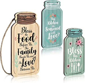 3 pieces Mason Jar Wall Hanging Plaque Bless The Food Family Love sign Rustic Farmhouse kitchen Hanging Sign This Kitchen is Seasoned with Love wall decor for Home coffee bar Office Housewarming
