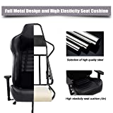 Blue Whale Massage Gaming Office Chair - Metal Base and Special Wave Support,High Back Reclining Racing Game Computer Desk Chair,Ergonomic Leather Executive Chair with Headrest and Lumbar Pillow 8301