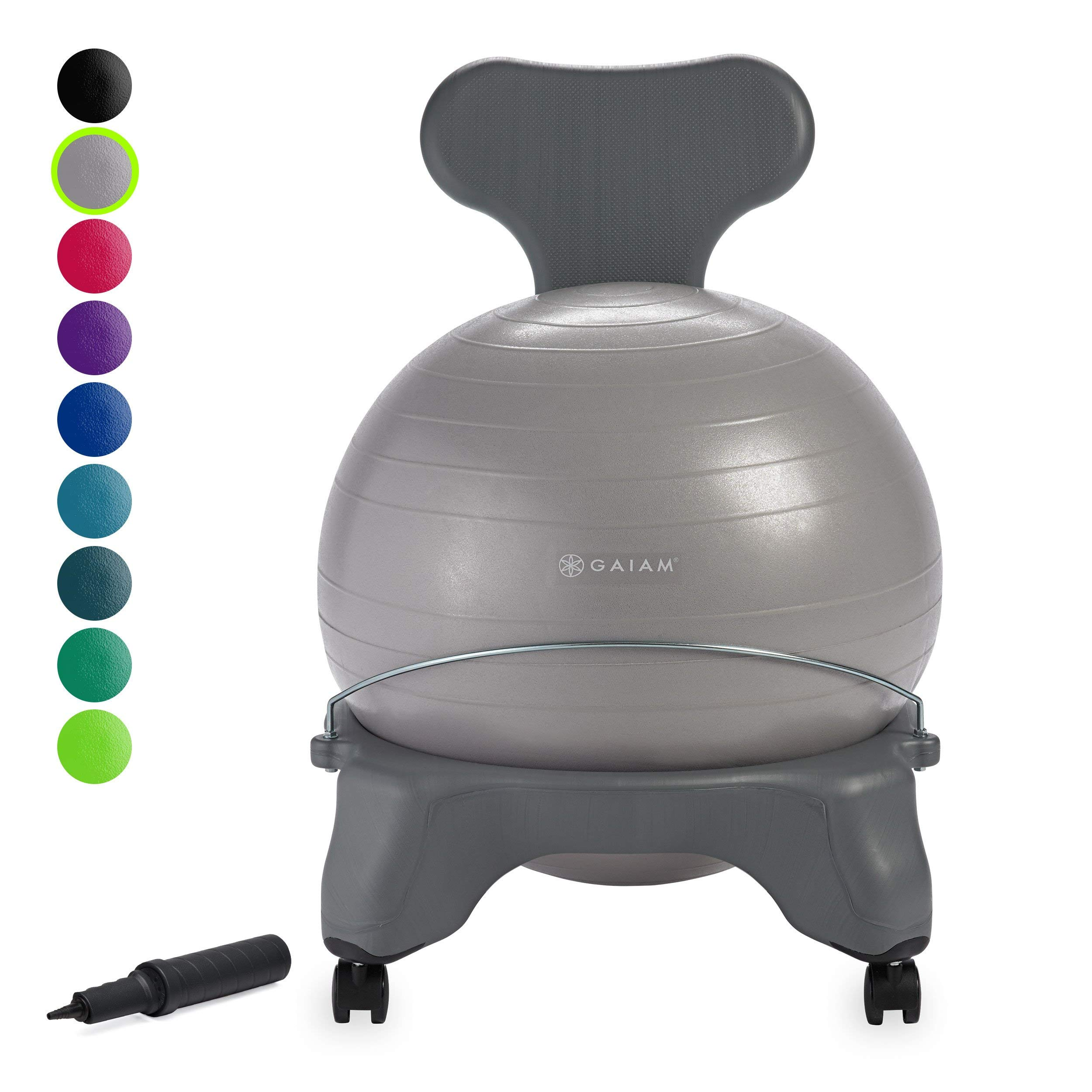 Gaiam Classic Balance Ball Chair - Exercise Stability Yoga Ball Premium Ergonomic Chair for Home, Office Desk w/Air Pump, Exercise Guide and Satisfaction Guarantee, Cool Grey (Renewed)
