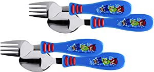 Zak Designs PJ Masks - Kid Flatware Set with Fun Character Art on Both Utensils, Non Slip Fork and Spoon Set is Perfect for Encouraging Picky Kids to Finish Their Plates (2 pk, BPA-Free)