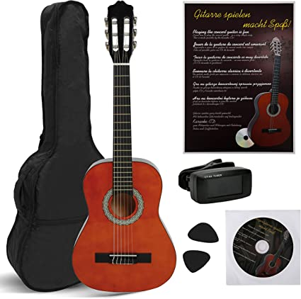NAVARRA NV11PK Guitarra Clásica STARTER PACK 4/4 honey con bordes ...