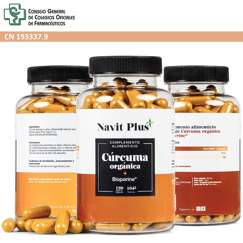 Cúrcuma Orgánica 745mg con BioPerine®. Suplemento Nº 1 en Cúrcuma. Antioxidante natural. 120 cápsulas vegetales con ingredientes de máxima calidad. ...