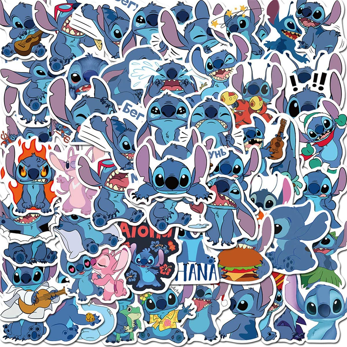 50Pcs Lilo & Stitch Stickers Waterproof Vinyl Stickers for Water Bottle Luggage Bike Car Decals (Stitch)