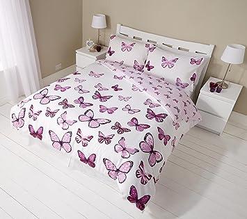 Schmetterlinge Lila Schmetterling Wende Bettwäsche Set, Bettbezug  Kissenbezüge Betten Schlafzimmer Set (3
