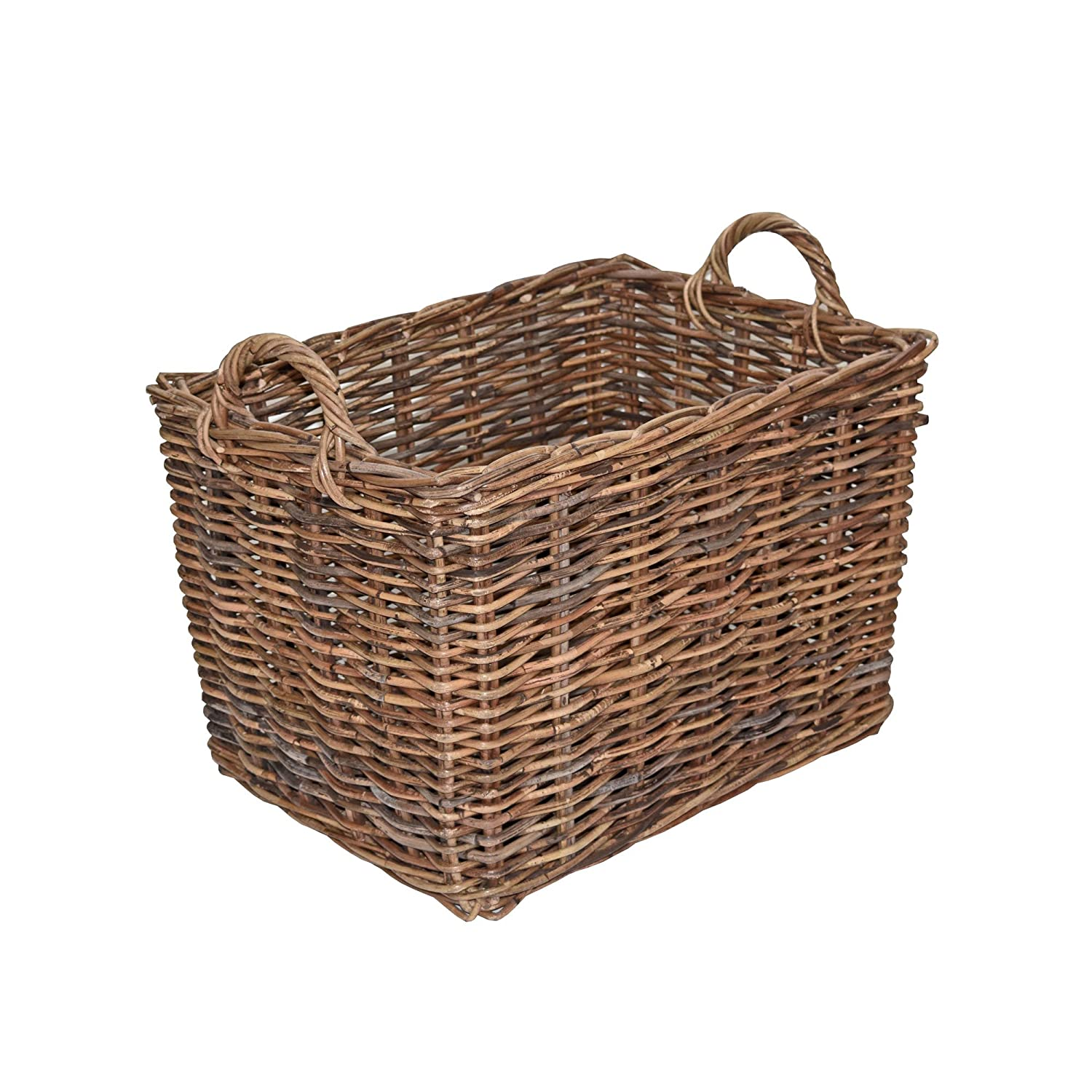 Rattan Log Basket, Rectangular Kindling Storage - Rustic Brown (Small - L 39 x W 26 x H 28 cm, with handle H 35 c) Casa Furnishings