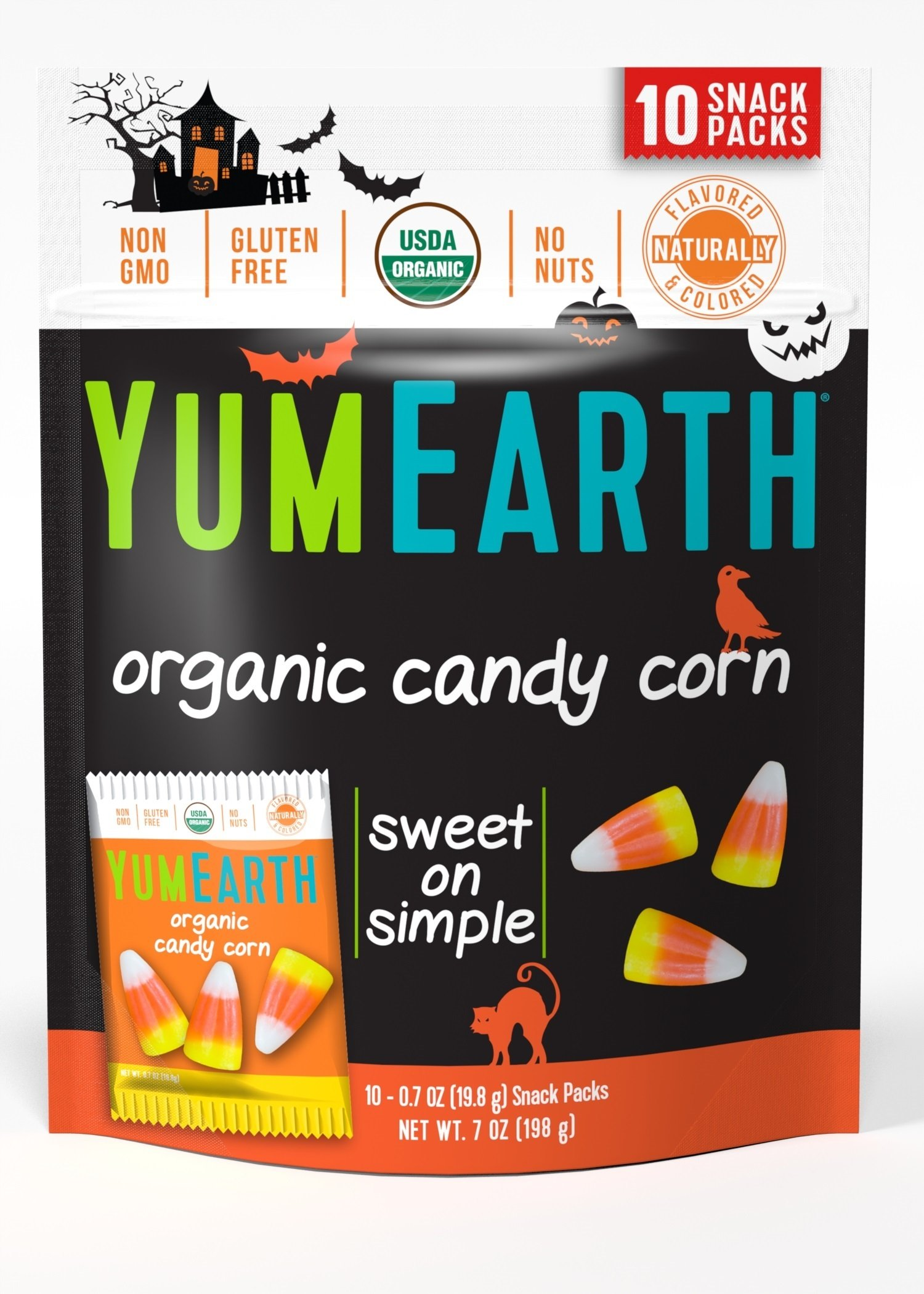 YumEarth Organic Gluten Free Candy Corn Snack Packs, 10 Count (Pack of 18)