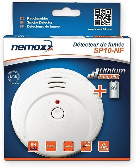 d/étecteur de fum/ée Durable avec 9V Batterie au Lithium 3X Nemaxx SP10-NF d/étecteurs de fum/ée DIN EN14604