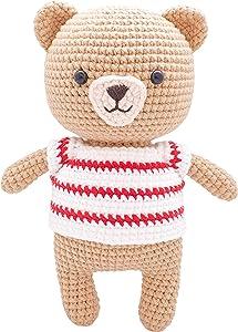 FRILY [New] Benno Bear - Small Bear Amigurumi Stuffed Animal - Knitted Crochet Toy for Kindergarteners, Girls, Boys and Adults - 100% Handmade Using Premium Yarns - 7.5'' Tall (Red)