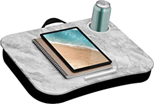 LapGear Cup Holder Lap Desk with Device Ledge - White Marble - Fits Up to 15.6 Inch Laptops - Style No. 46305