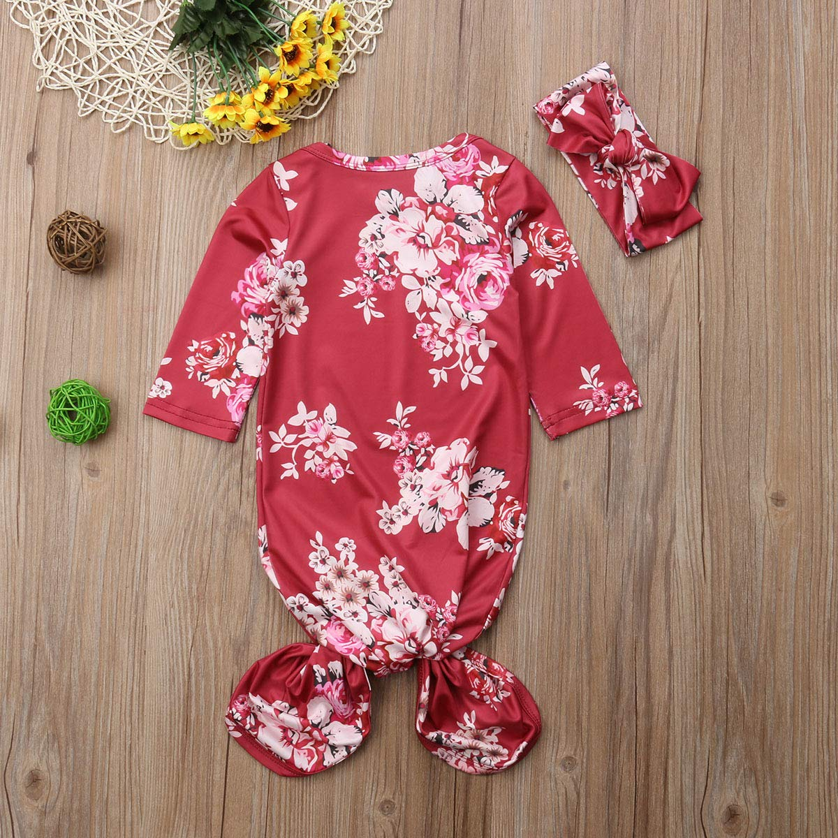 Fanveraka Baby Girl Floral Sleepwear Nightgowns with Headband Sleeping Bags Coming Home Outfits 0-6Months