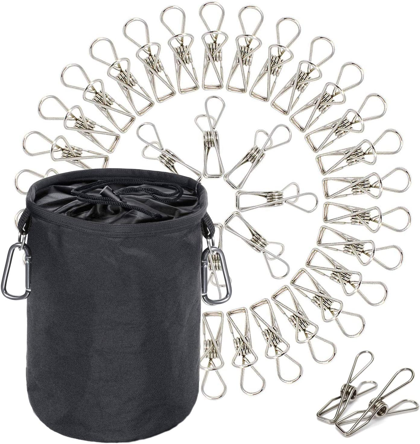 Clothes Laundry Metal Clothepins and Bag with Hanger Clips | Stainless steel Pins Hanging Windproof Against Rust for Outdoor, Home, Kitchen, Bathroom, Garden, Balcony | 60 PACK Pegs and Bag - MEGON