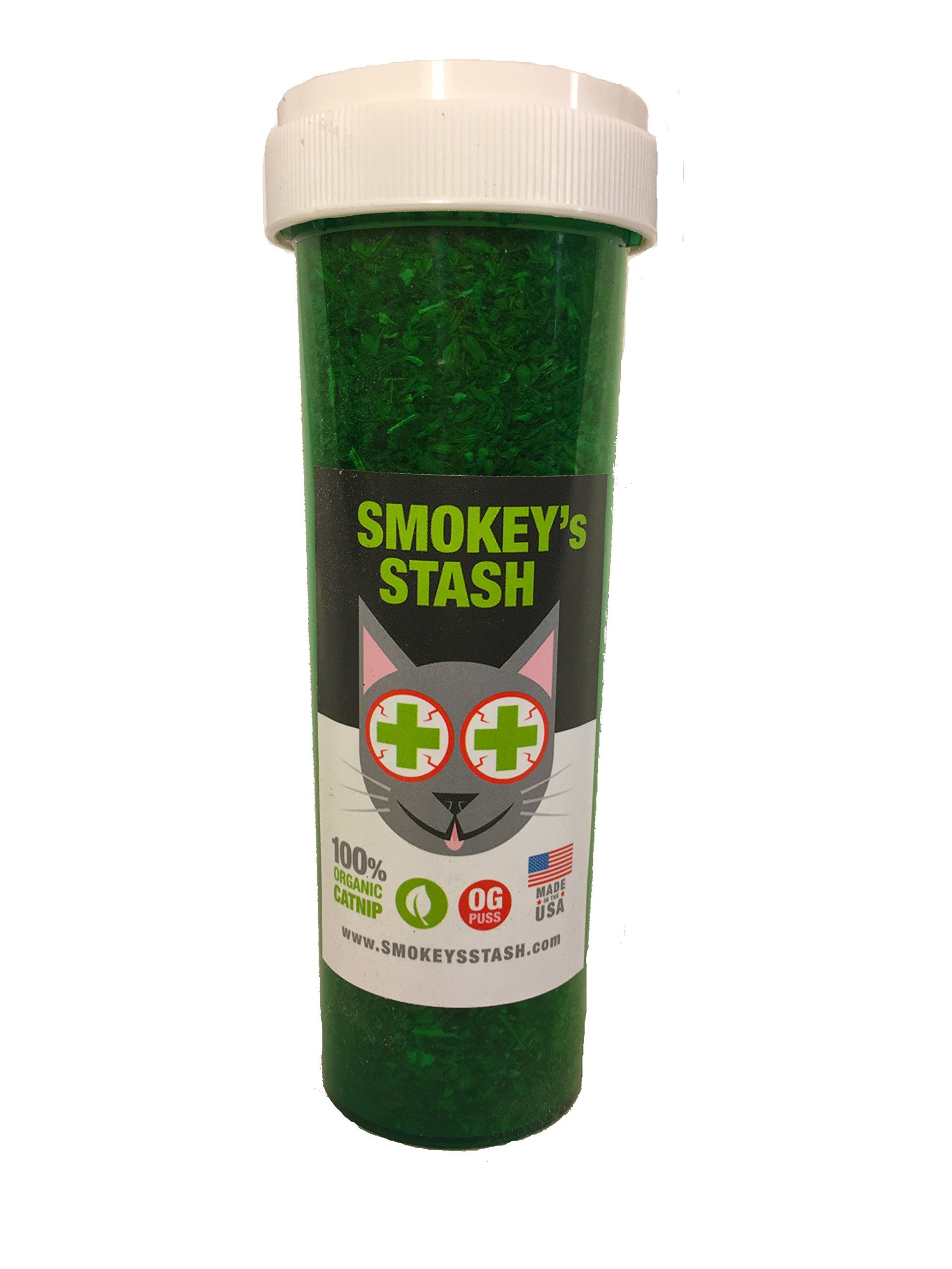 Organic catnip by Smokey's Stash | OG puss | cat weed for cats pop top - large